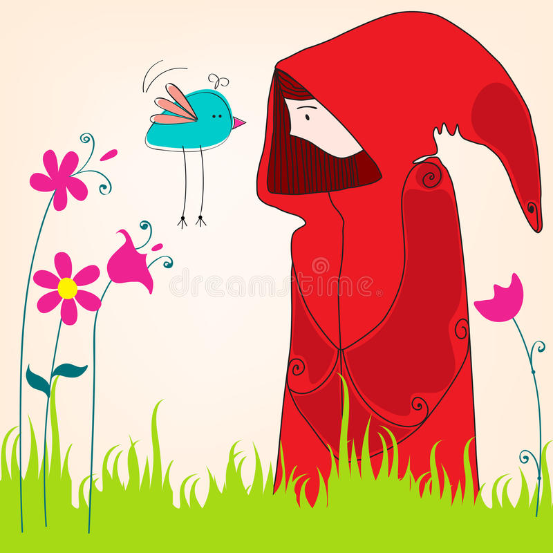 Free Cute Spring Girl With Bird Stock Images - 25659874