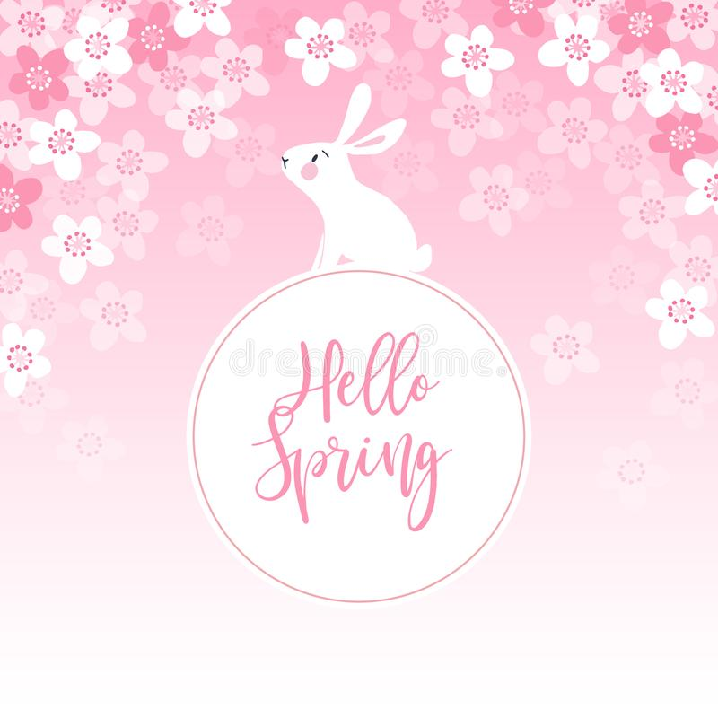 Cute spring greeting card, invitation with white rabbit, bunny and cherry tree blossoms. Easter concept. Pink vector stock illustration