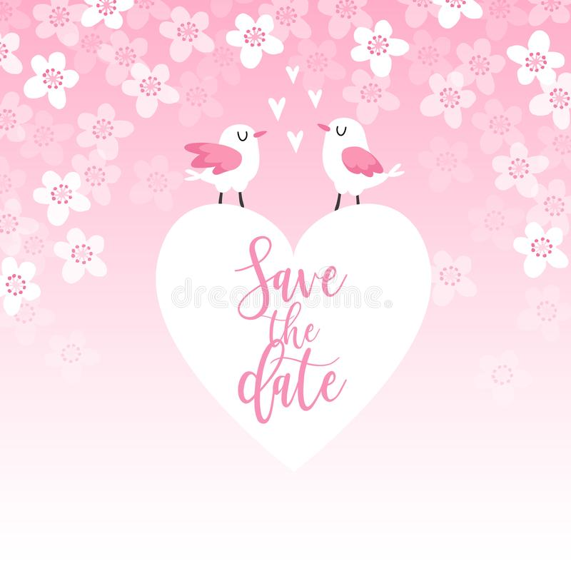 Cute spring greeting card, wedding invitation with couple of birds, heart and cherry tree blossoms. Love concept. Pink. Cute spring greeting card, wedding royalty free illustration