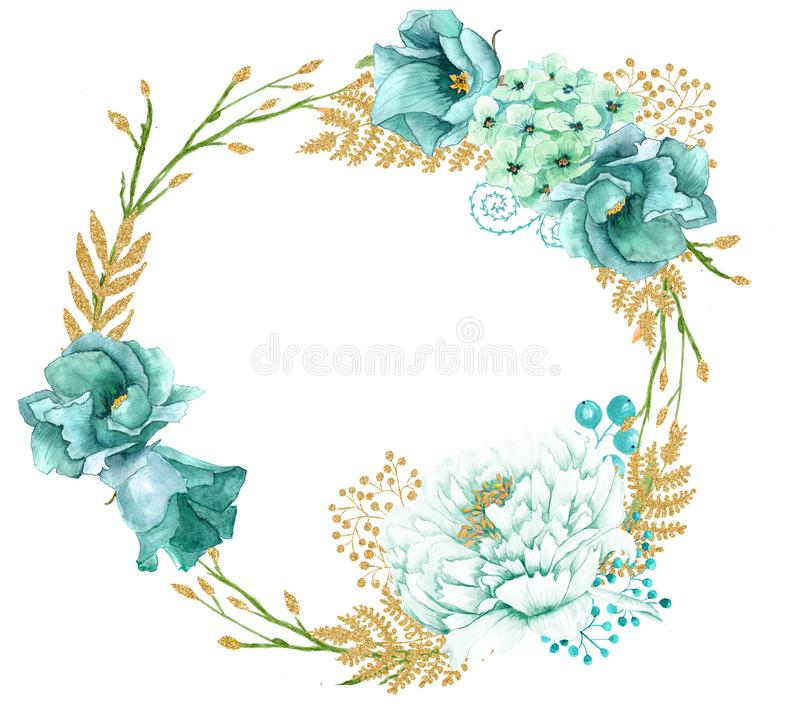 Hand painted wreath of watercolor mint gold flowers stock image