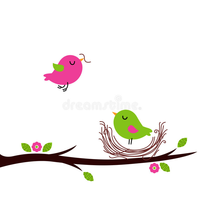 Cute spring nesting birds isolated on white royalty free illustration