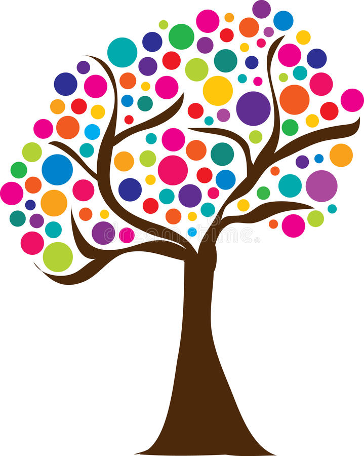 Cute Spring Tree Logo Easter. Cute spring tree with colorful balls logo or clipart or Easter egg tree