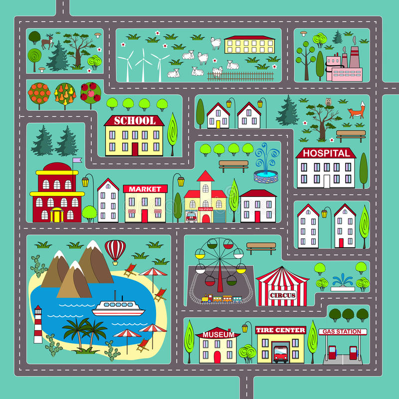 Cute Square Road Play Mat For Kids Activity And