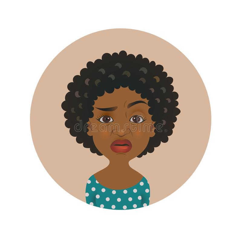 Cute squeamish Afro American woman avatar. Overcritical African girl emoji.  Skeptical dark-skinned person facial expression. stock illustration