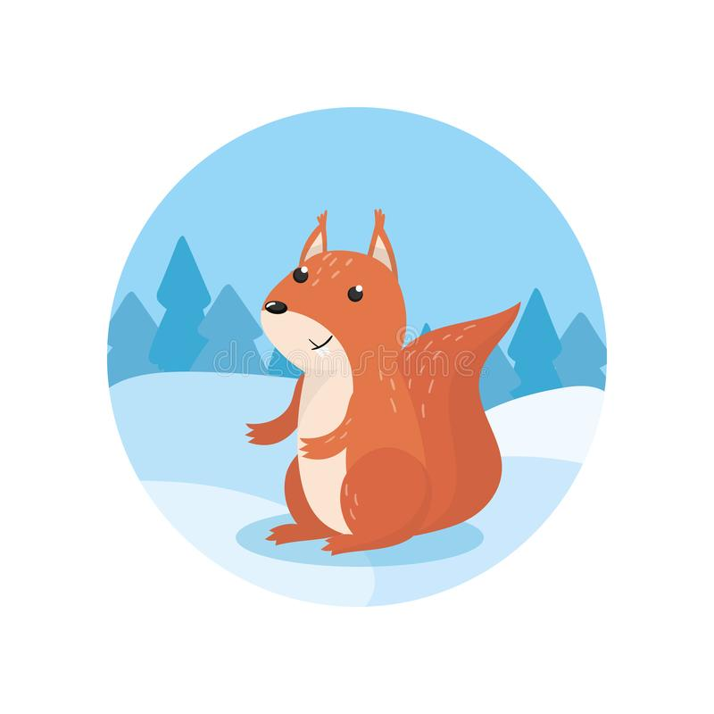 Cute squirrel on the background of winter landscape vector Illustratio, cartoon style vector illustration