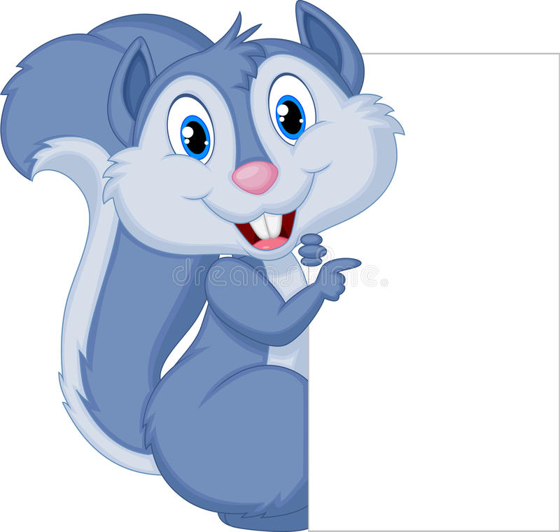 Cute squirrel cartoon holding blank sign royalty free illustration