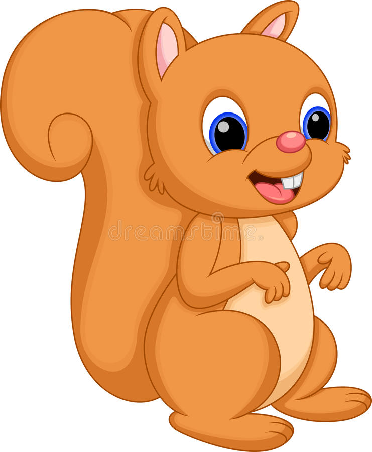 Cute Squirrel Cartoon With A White Background Stock Illustration