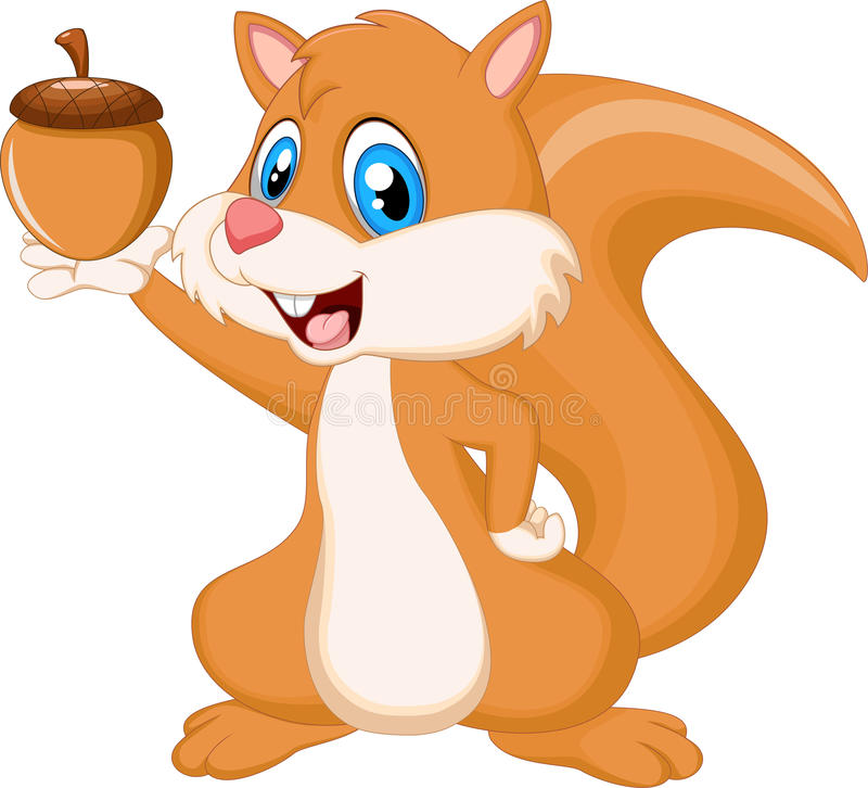 Cute squirrel holding nut stock illustration