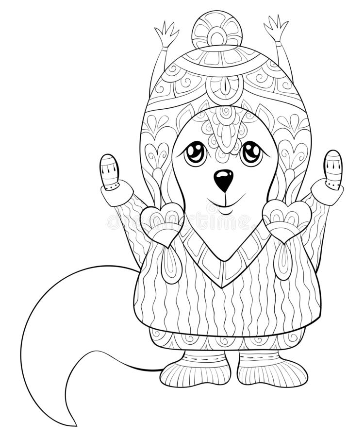 Adult coloring book,page a cute squirrel for relaxing.Line art style illustration. A cute squirrel wearing a Christmas cap,gloves,boots and sweater with zen stock illustration