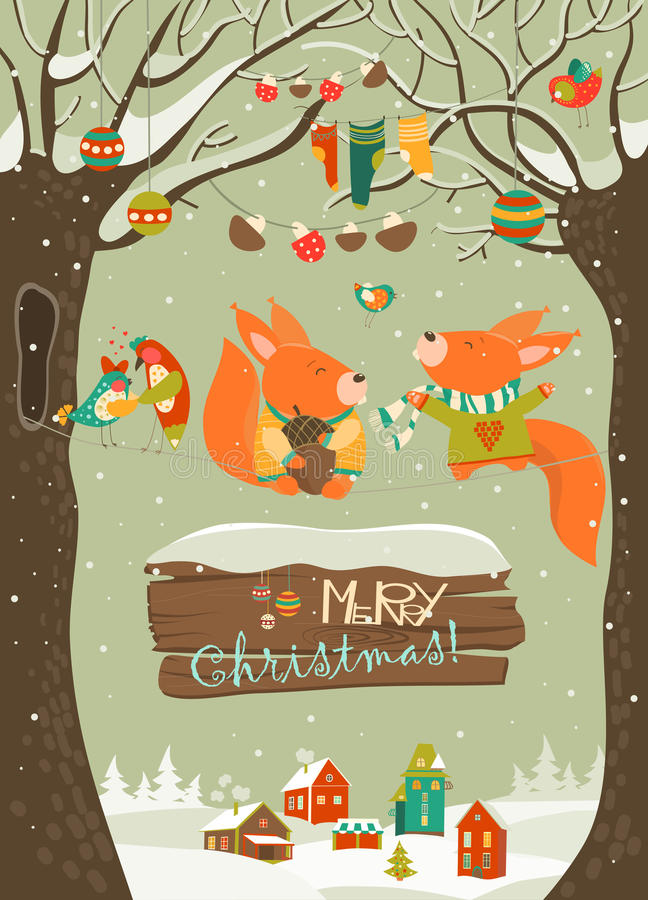 Cute squirrels celebrating Christmas. Vector greeting card vector illustration