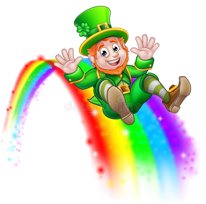 St Patricks Day Leprechaun Rainbow Slide stock illustration