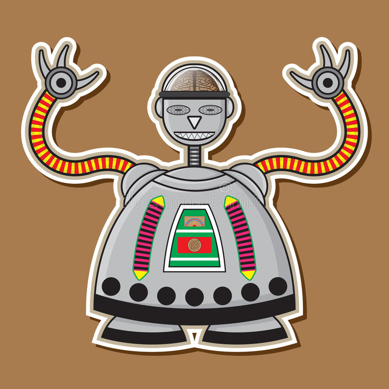 Cute Steel Robot Vector Design stock photos