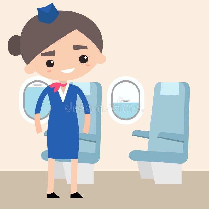 Cute stewardess inside the plane. Flat editable vector illustration, clip art vector illustration