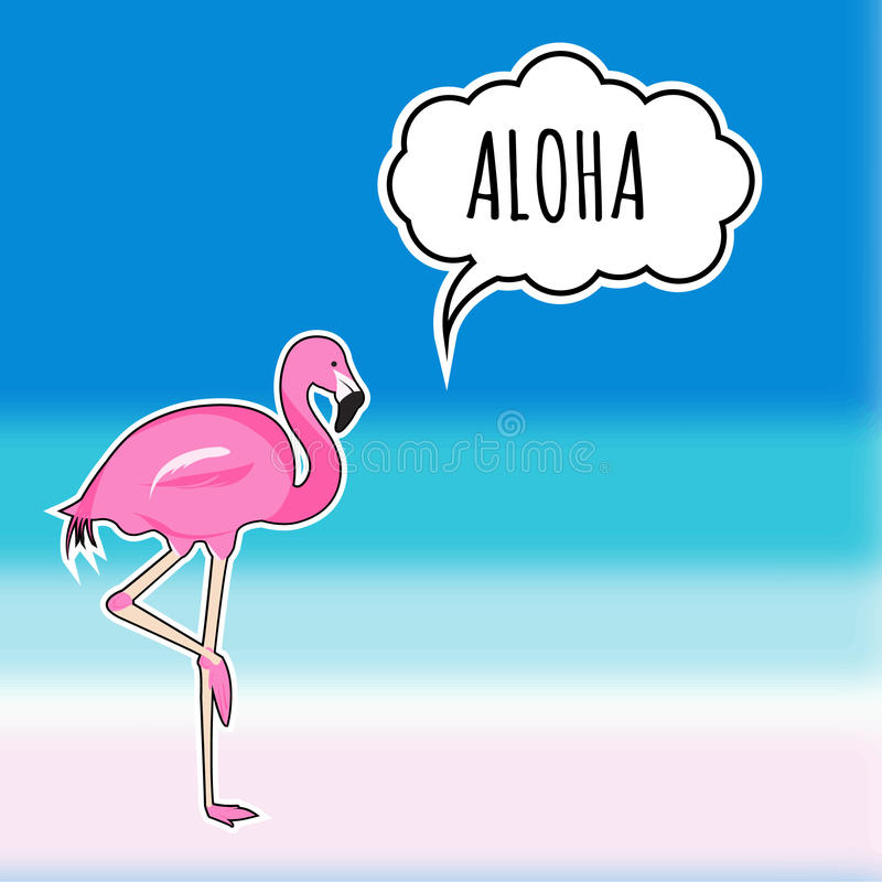 Cute sticker pink flamingo on the blurred beach background. EPS stock illustration