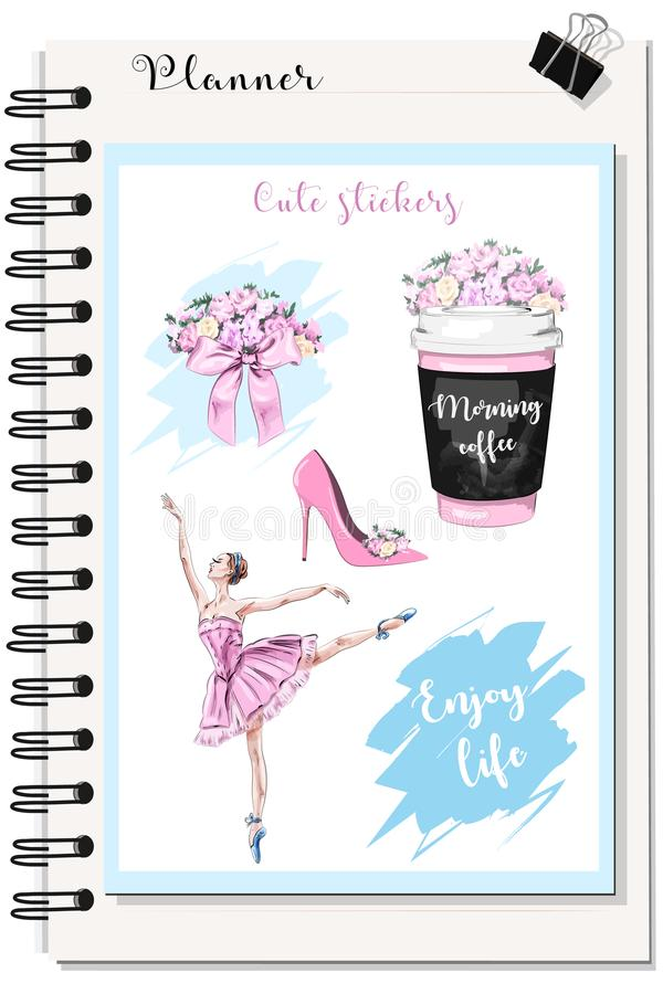 Cute stickers for Planner: coffee cup with flowers, flower bouquet, beautiful ballerina stock illustration