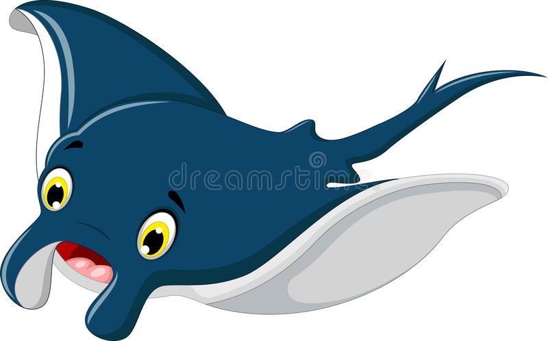Cute stingray cartoon smiling. Illustration of cute stingray cartoon smiling royalty free illustration
