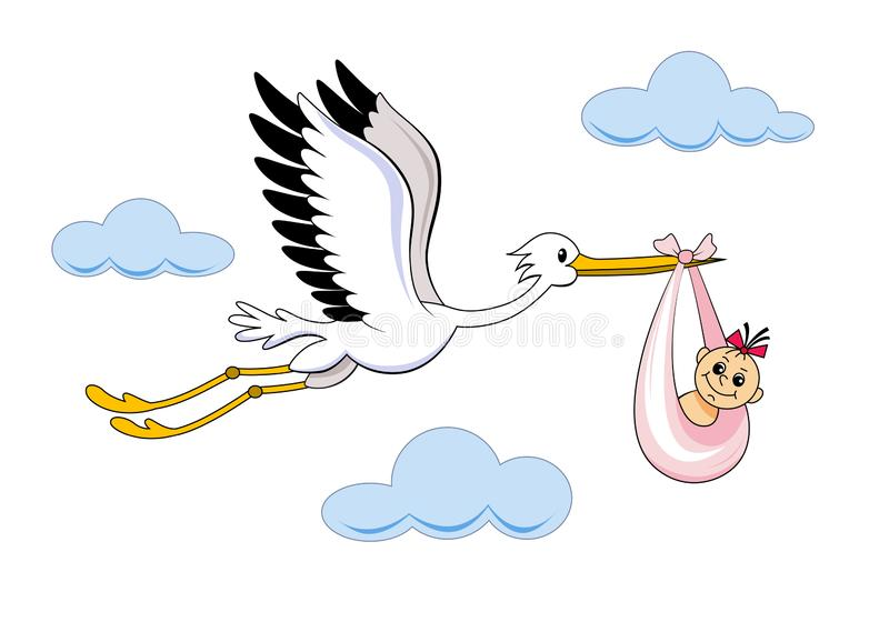 Stork With Baby Cartoon Vector Stock Vector Illustration Of Family Lovely 159380814