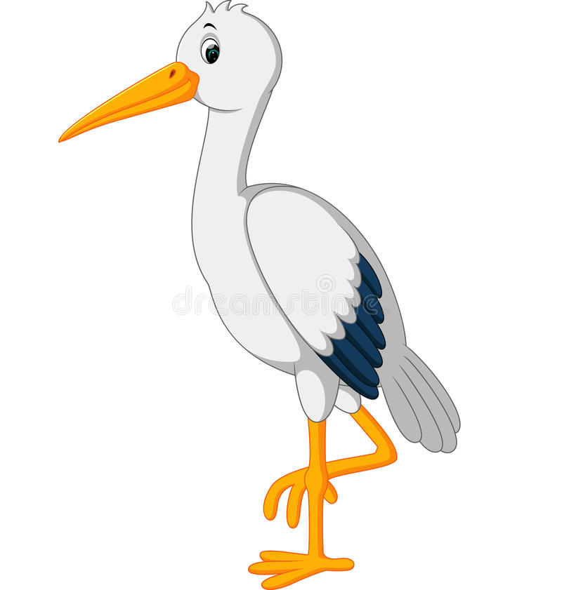 Free Cute Stork Cartoon Royalty Free Stock Images - 81426829