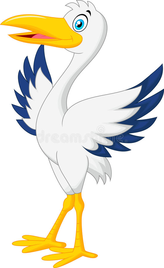 Free Cute Stork Cartoon Posing Royalty Free Stock Photography - 45741507