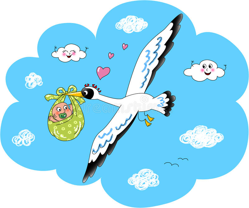 Download Cute Stork With Newborn Baby Stock Illustration - Image: 24663329