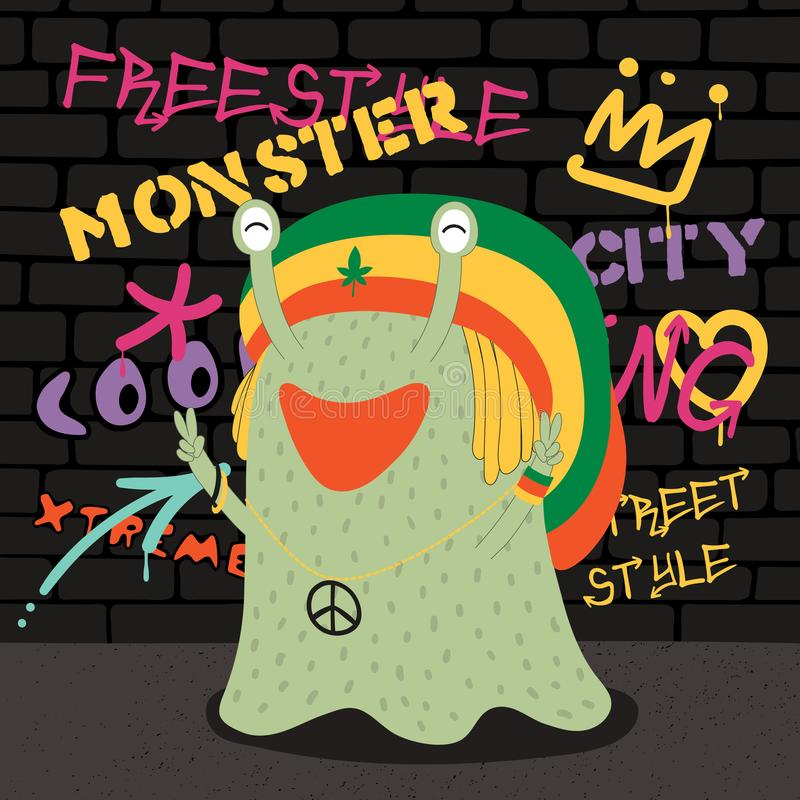 Cute street style monster royalty free illustration