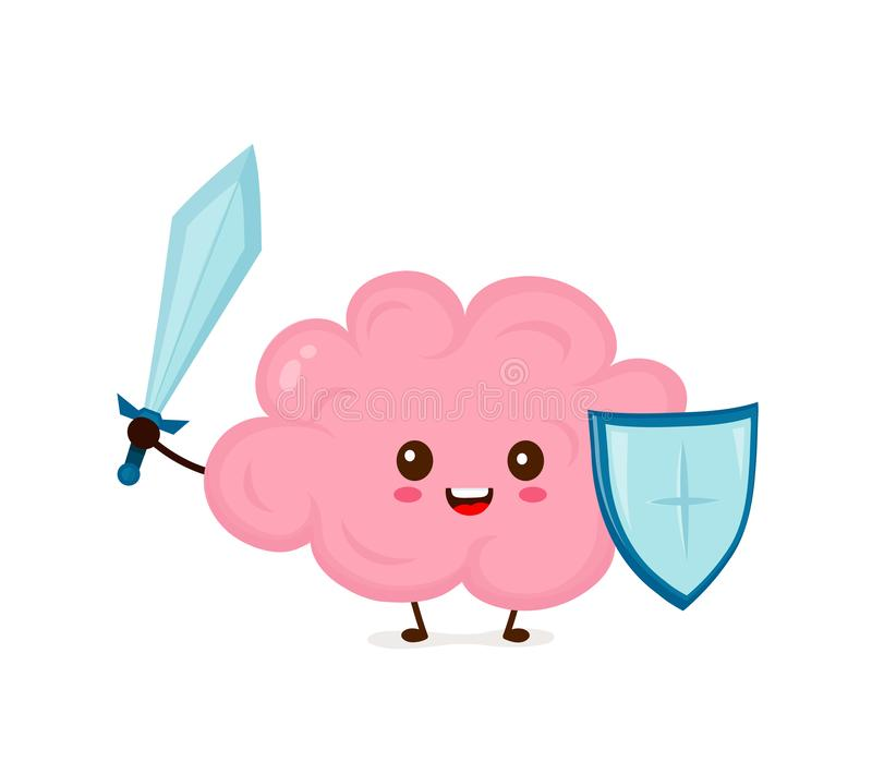 Cute strong happy smiling healthy brain vector illustration