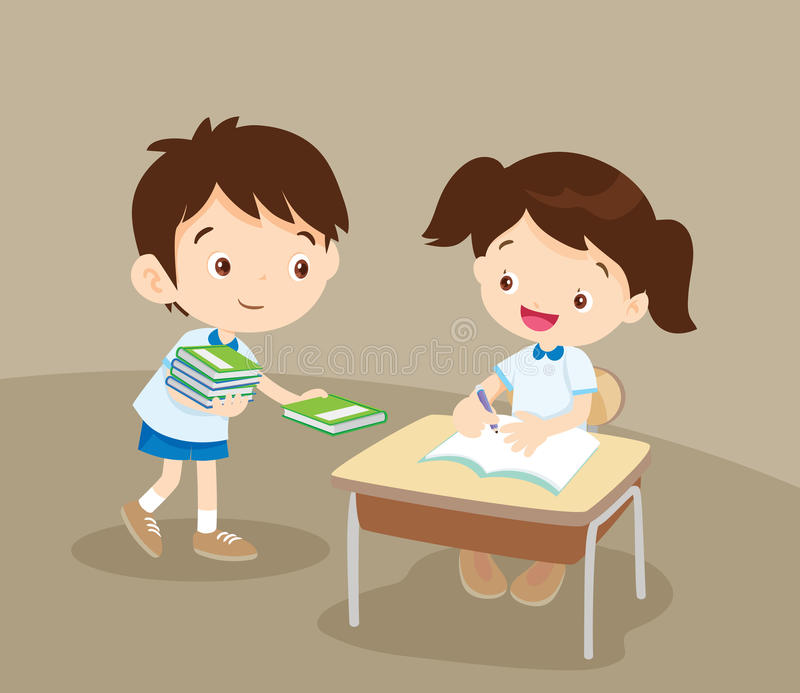 Cute student boy Giving a Book to friend royalty free illustration