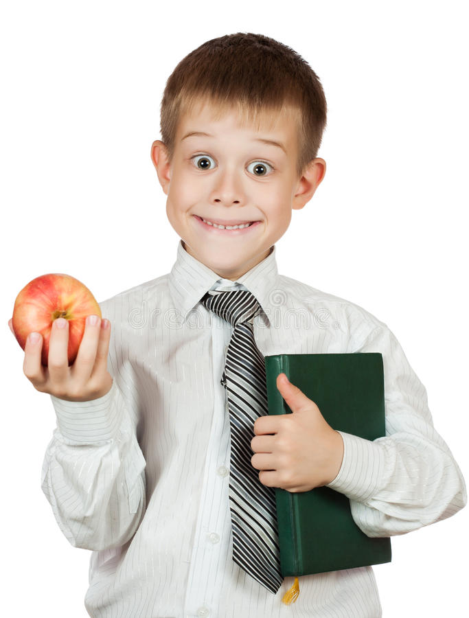 Download Cute Student Is Holding Book And Apple. Isolated Royalty Free Stock Photography - Image: 26845697