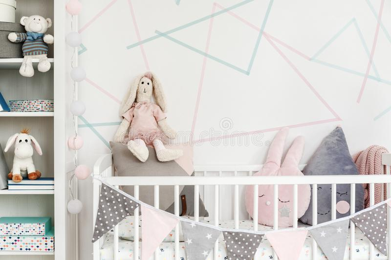 Cute stuffed animals. In an elegant child`s bedroom interior decorated with washi tape royalty free stock photos