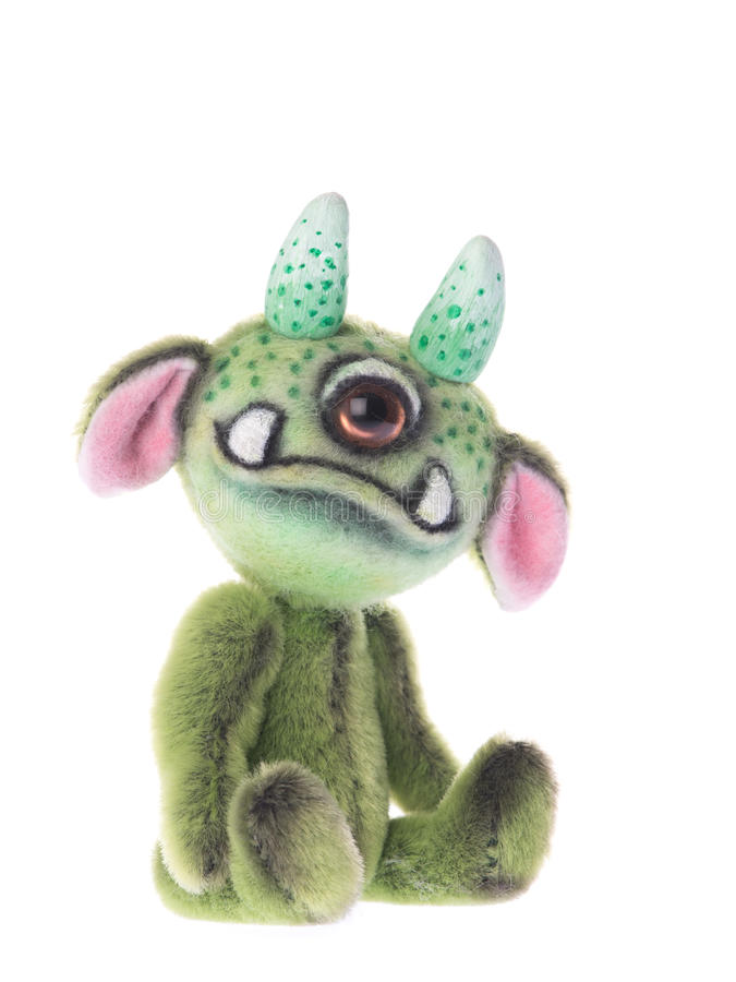 Free Cute Stuffed One Eyed Animal Green Monster Toy Stock Images - 58701554