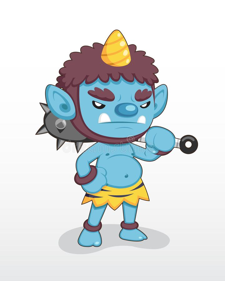 Cute style Blue Japanese Demon standing illustration royalty free illustration