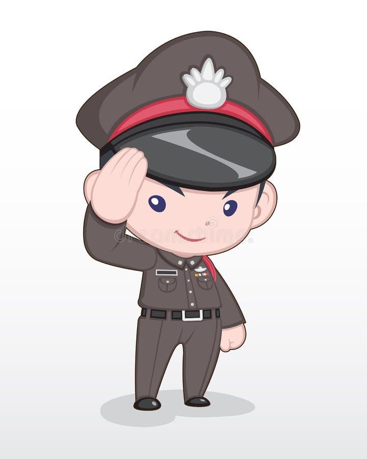 Cute Style Cartoon Thai Police Officer Illustration stock illustration