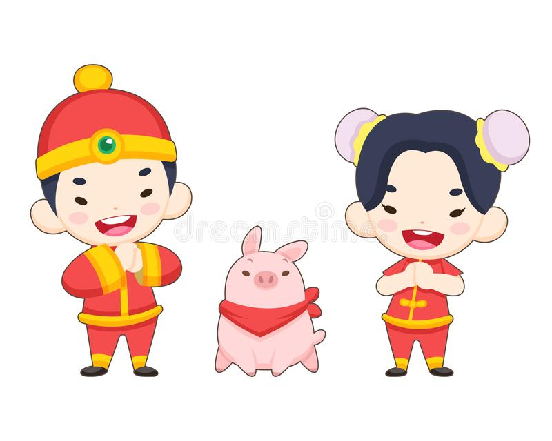 Cute style Chinese boy and girl with a pig stock illustration