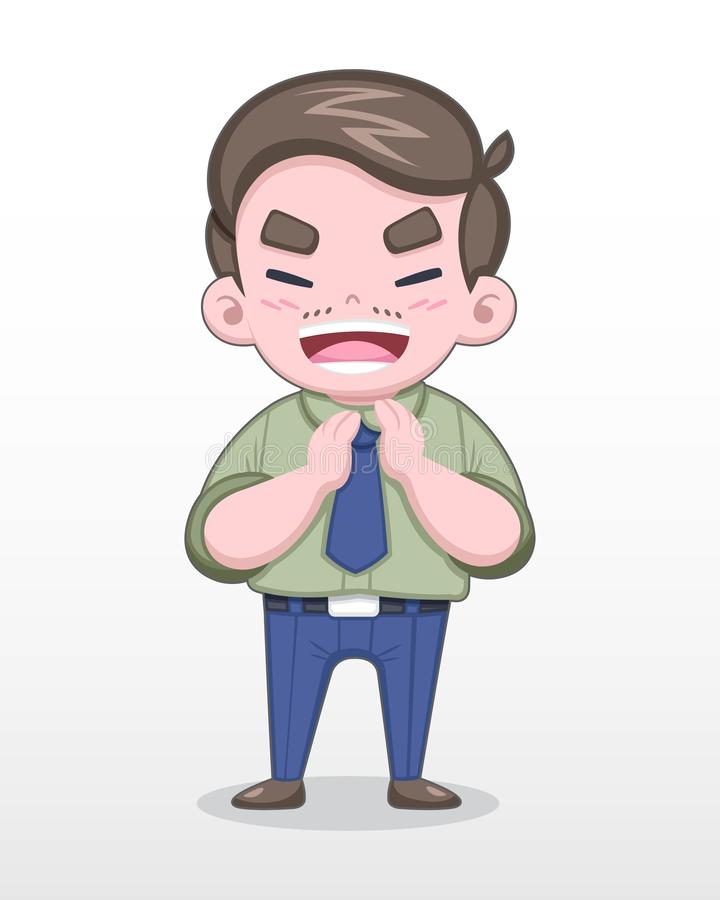 Cute Style Japanese Salaryman Clapping Cheerfully Vector Illustration vector illustration