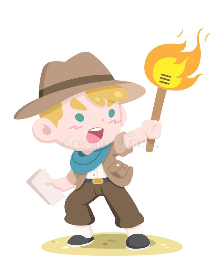Cute style little adventurer holding torch illustration royalty free stock photos