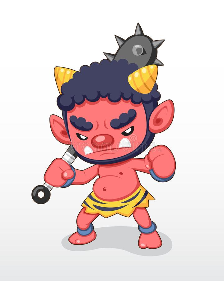 Cute style Red Japanese Demon standing illustration vector illustration