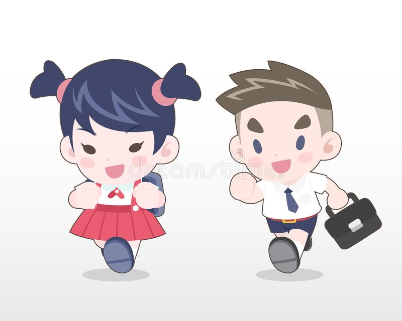Cute Style Young Thai students Illustration stock illustration