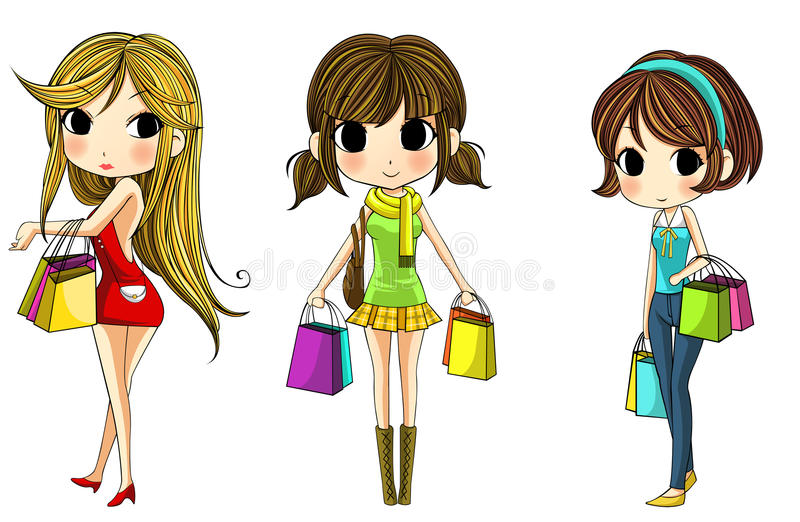 Cute Stylish Cartoon Girls In Shopping Set Stock Photography