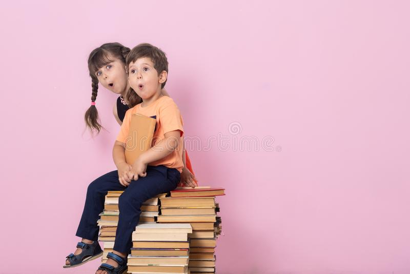 Cute stylish children back to school. Fashion for school kids, uniform. Pupil of primary school. royalty free stock photos