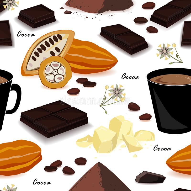 Cocoa seamless pattern. Pod, beans, cocoa butter, cocoa liquor, chocolate, cocoa drink and powder. Vector illustration. Cute and stylish cocoa seamless pattern stock illustration