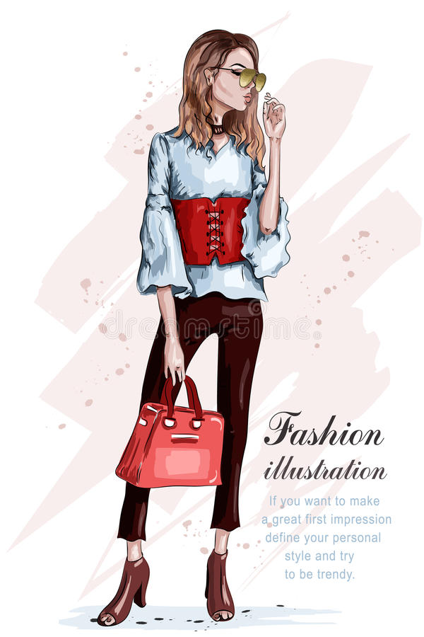Cute stylish girl in fashion clothes. Fashion woman with bag. Hand drawn brunette woman. Sketch. stock illustration