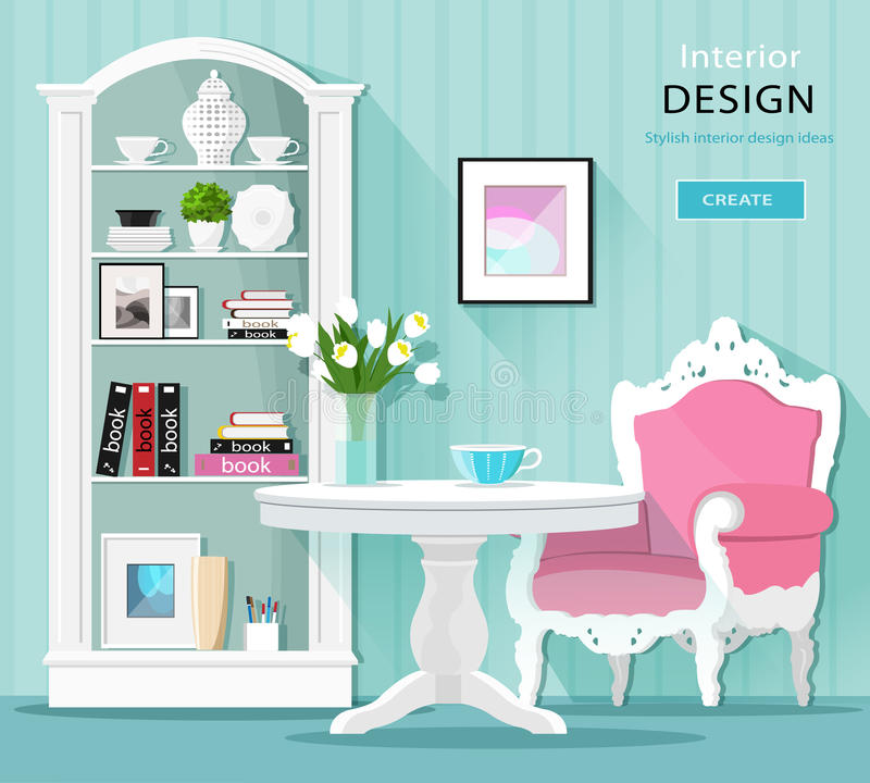 Cute stylish graphic room decor. Light colored room interior with table, armchair and cupboard. Flat style. Cute stylish graphic room decor. Light colored room stock illustration