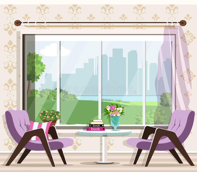 Cute stylish living room interior set: armchairs, table, window. Graphic furniture. Luxury room interior design. stock illustration