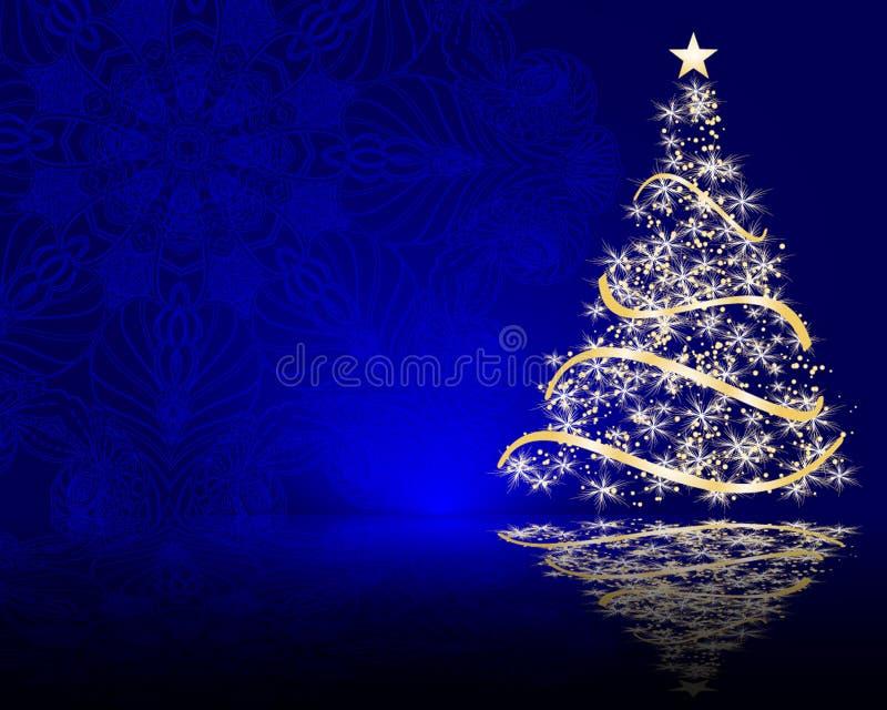 Cute stylized Christmas tree on decorative mandala background royalty free illustration