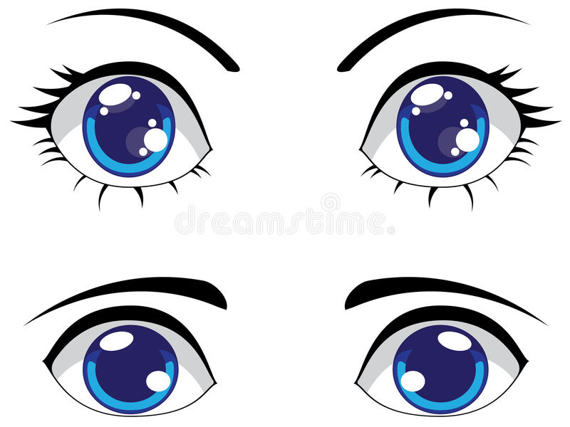Cute Stylized Eyes Stock Vector. Illustration Of