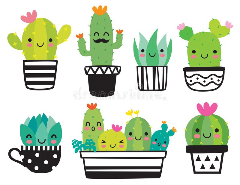 Cute Succulent or Cactus Vector Illustration. Cute succulent or cactus plant with happy face vector illustration set stock illustration
