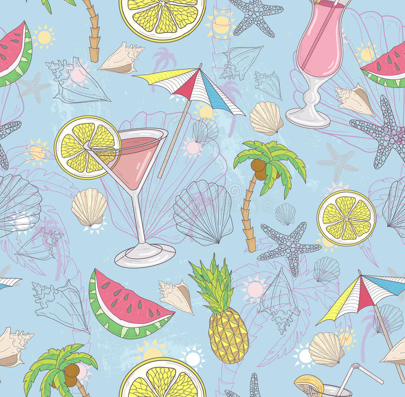 Cute summer abstract pattern. Seamless pattern with cocktails. Sunglasses, fruits, palms, and seashells. Fun pattern for children or teenagers vector illustration