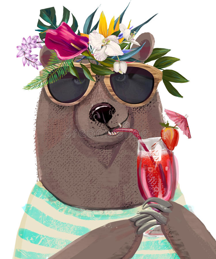 Cute summer bear vector illustration