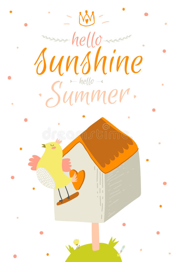 Download Cute Summer Card With Character Vector Stock Vector   Illustration  Of Inspiration, Emotion: