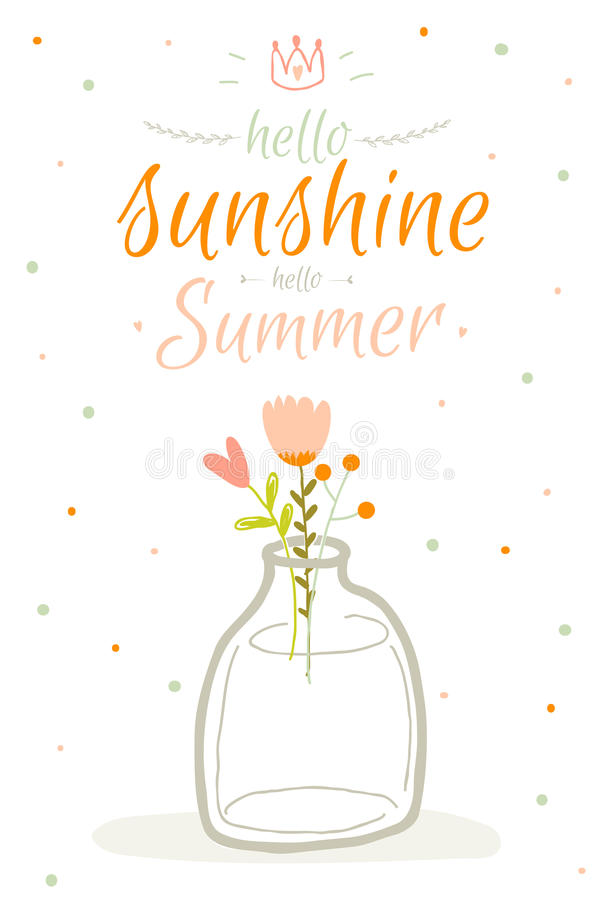 Download Cute Summer Card With Character Vector Stock Vector   Illustration  Of Label, Bright: